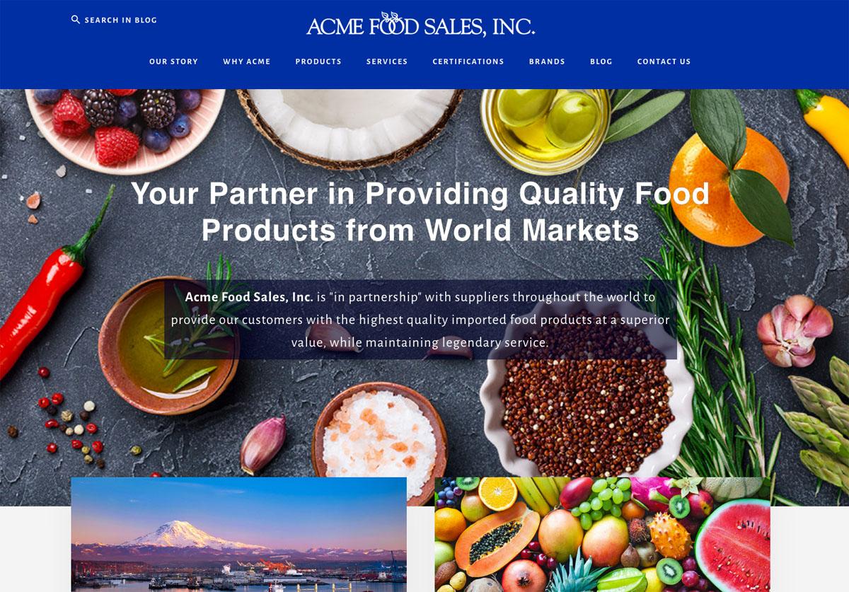 Acme Food Sales Inc, website design by Terri Ramacus