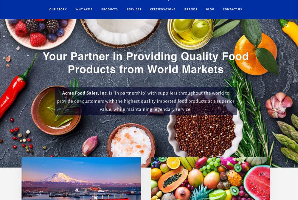 Acme Food Sales, website design by Terri Ramacus