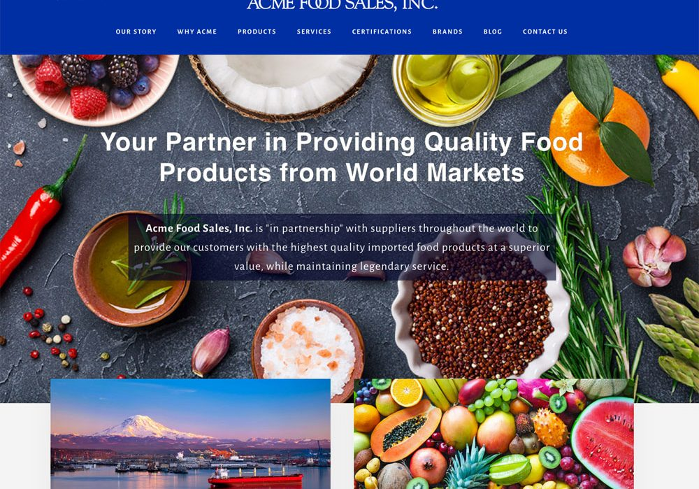 Acme Food Sales, website design by Terri Ramacus