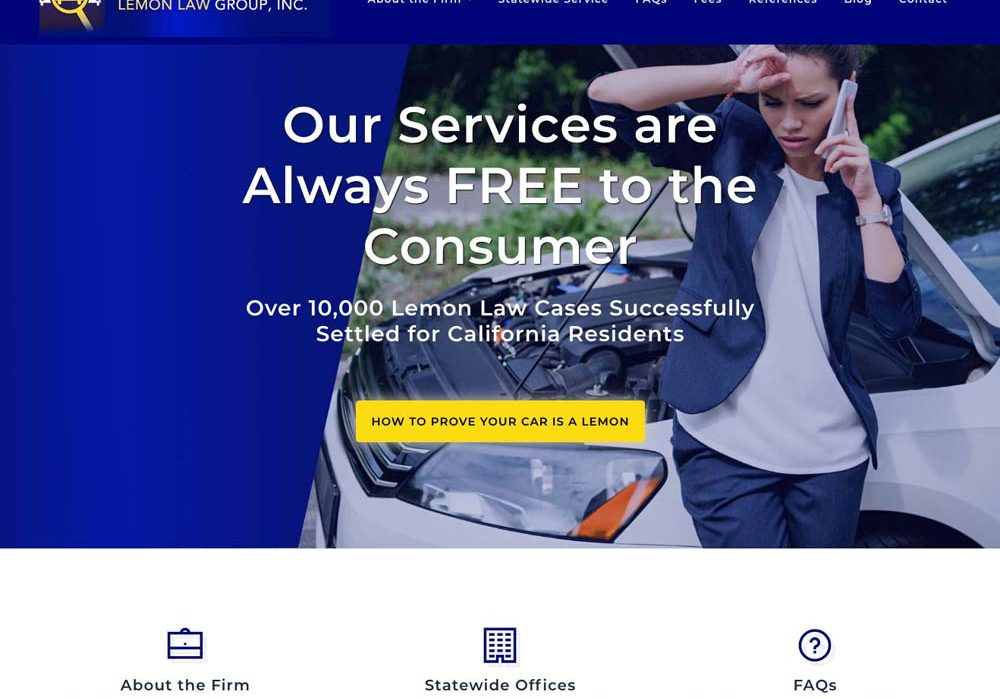 Mobile Responsive WordPress site for California Lemon Law Group