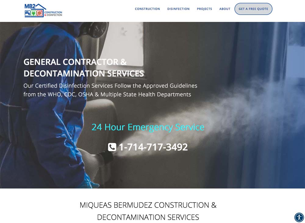 WordPress Website, by Terri Ramacus, construction, decontamination, sanitization COVID-19